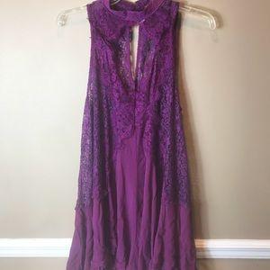 Free People sz M Purple Lace Tunic